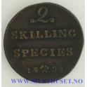 2 skilling 1832 kvalitet 1+/01