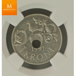 Norway: 1 krone 1997 Mint Error NGC MS62