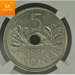 Norway: 5 kroner 1999 MINT ERROR NGC MS66
