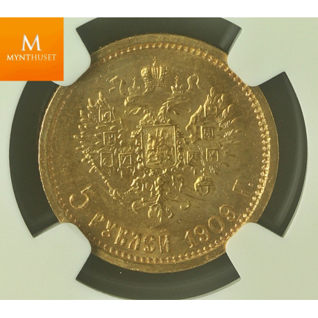 Russia 5 Rouble 1909 EB NGC MS66