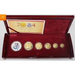 China GOLD Set: 2004 Panda & Lunar Premium 5-coin Set. Includes the 1oz, 1/2oz, 1/4oz, 1/10oz & 1/20oz.