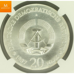 East Germany 20 Mark 1987 A Berlin City Seal NGC MS66