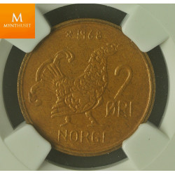 Norway: 2 øre 1968 kvalitet 0 , NGC MS64 BN