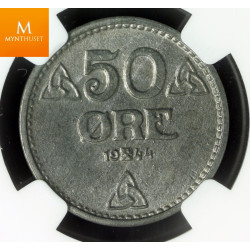 Norway 50 øre 1944 Z NGC MS64, kvalitet 0