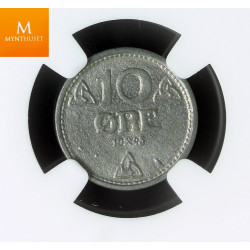 Norway 10 øre 1945 Z kvalitet 0 , NGC MS64
