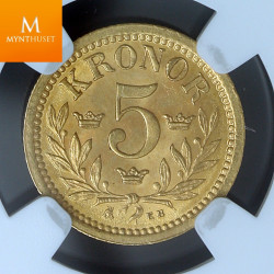Sweden 5 kronor 1899 EB NGC Mint error MS64