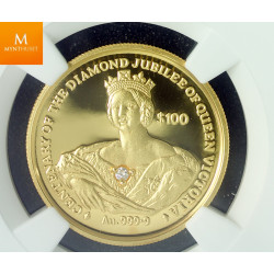 Sierra Leone gull 100 dollar 1997 med diamant, kvalitet proof, NGC PF69