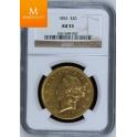 USA: 20 Dollar gull 1853 AU53 Flott mynt