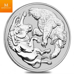 Australian 1 oz sølv  Bull and Bear 2020