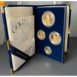 2002 W 4 stk Proof American Gull Eagle Sett (med Box & COA)