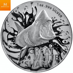 AUSTRALIA'S MOST DANGEROUS 2021 - GREAT WHITE SHARK .999 1 oz sølv mynt i kvalitet BU