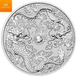 AUSTRALIA DOUBLE DRAGON 2019 1 OZ .9999 Sølv mynt i kvalitet BU