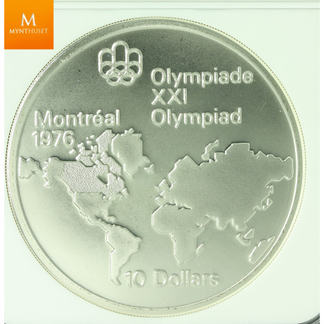 CANADA MONTREAL OLYMPICS 1974 SILVER 10 DOLLAR WORLD MAP REVERSE OF 19173 MULE kvalitet 0, NGC MS68