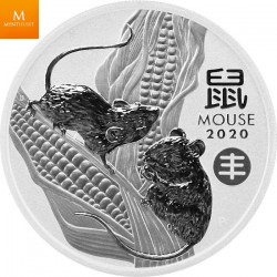 """Australia Lunar Series III 2020 1 oz - Year of the Mouse Chinese """"Harvest"""" Privy 9999 Silver BU Coin"""