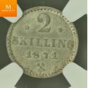 2 skilling 1871 stjerne MS64