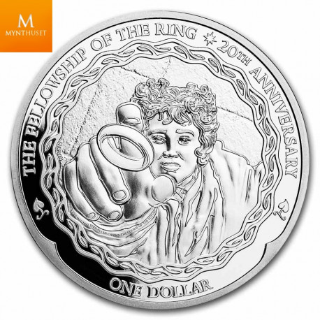 New Zealand 2021 1 oz Silver 20th Anniv Lord of The Rings: Frodo